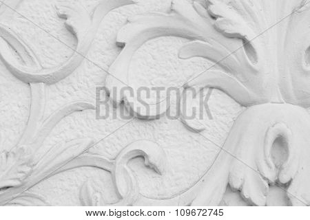 Decorative ornament on wall close up