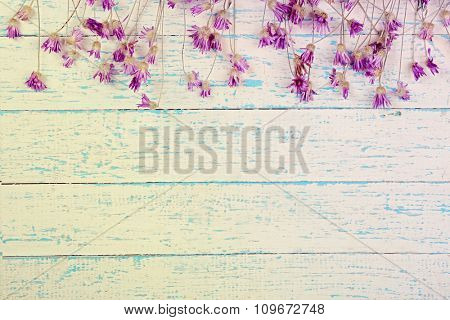 Wildflowers on wooden background