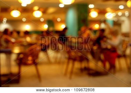 Cozy evening cafe, unfocused