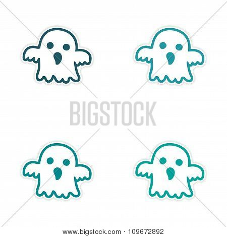 assembly realistic sticker design on paper ghost