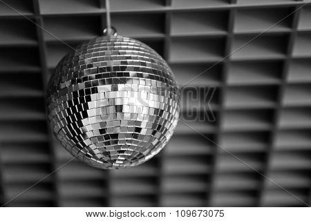 Silver disco mirror ball close up