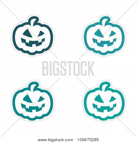 assembly realistic sticker design on paper pumpkin