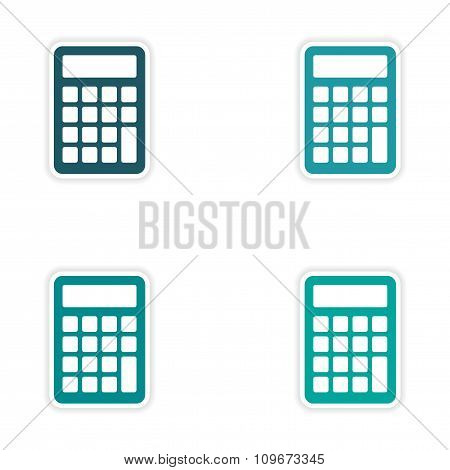 assembly realistic sticker design on paper calculator
