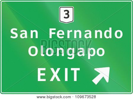 Road Sign In The Philippines - Expressway Exit Direction