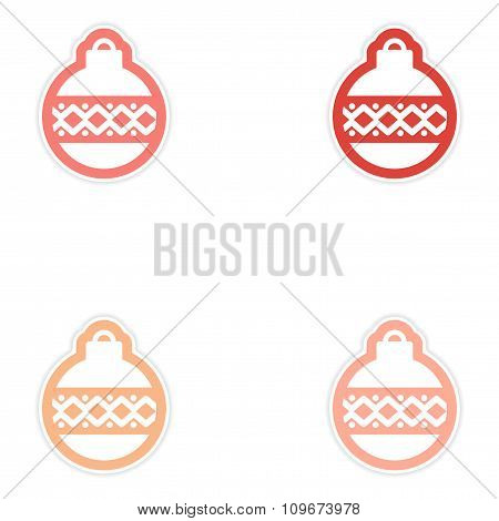 Set of paper stickers on white background Christmas ball