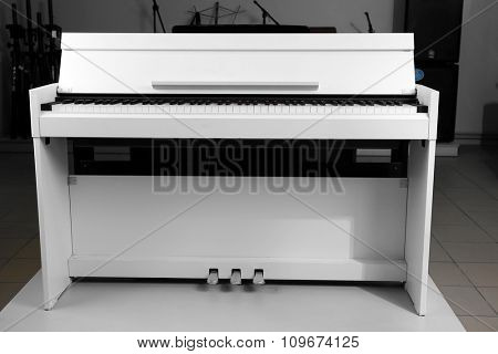 Piano in musical store