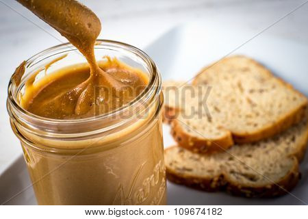 Jar Of Fresh Homemade Peanut Butter Spread
