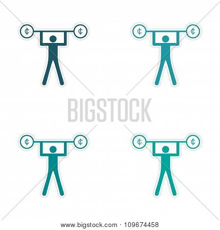 Stylish assembly sticker on paper people and money Rod