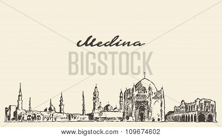 Medina skyline vector engraved illustration drawn