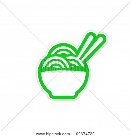 sticker Asian dish of noodles and chopsticks