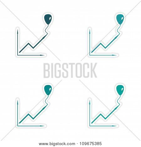 Set of stylish sticker on paper balloon and schedule