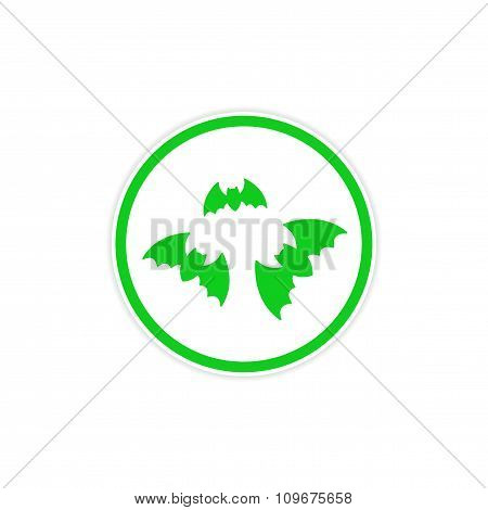 sticker full moon and bats on a white background
