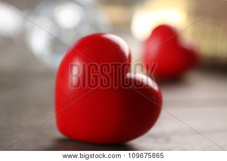 Heart decoration on romantic occasion, on wooden background