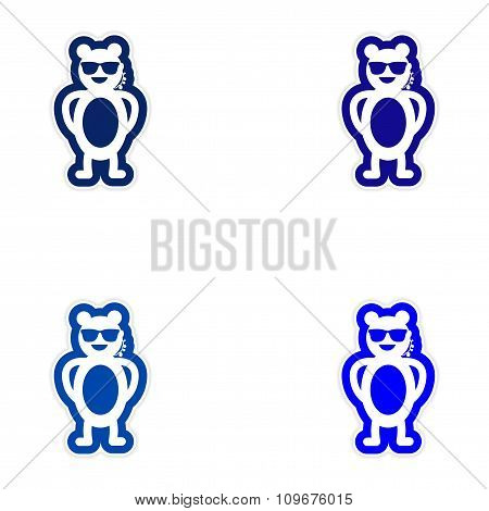 Set of paper stickers on white background bear security