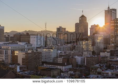 SAN FRANCISCO, CALIFORNIA, USA - January 13, 2013:  Sun setting behind Nob Hill near downtown San Francisco.