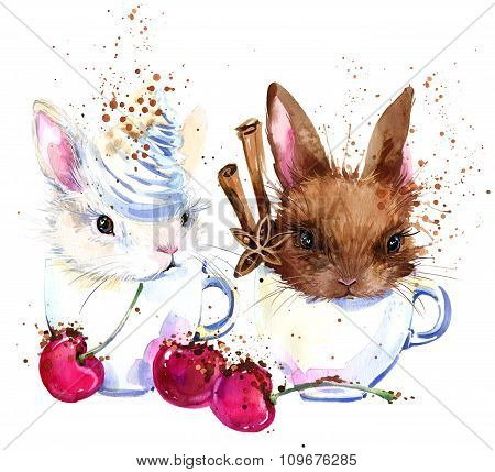Cute bunny and coffee T-shirt graphics. bunny illustration with splash watercolor textured backgroun