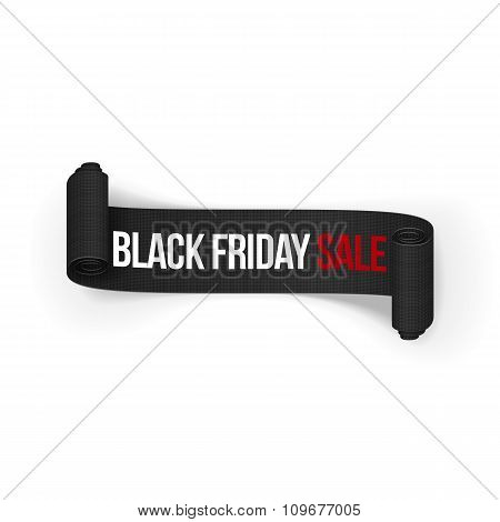 Black Friday Sale realistic rolled Ribbon