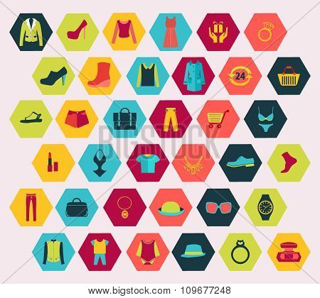 Shopping And Fashion Related Icons Set Made In Hexagon Shape.
