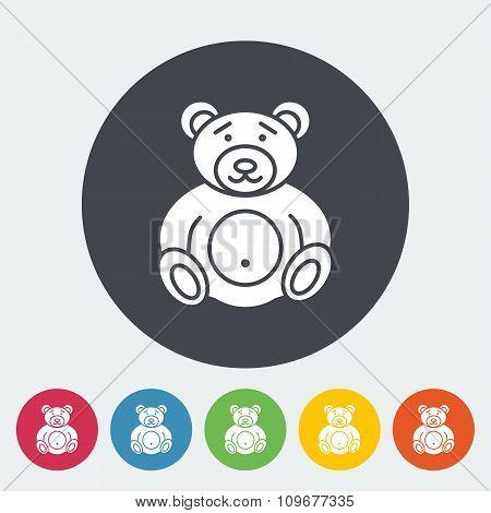 Bear toy flat icon