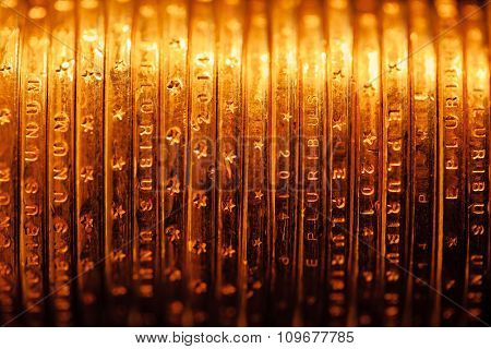 golden dollar coins backdrop, macro view