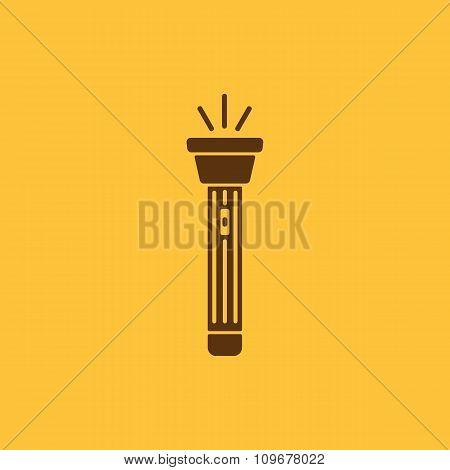 The flashlight icon. Torch symbol. Flat