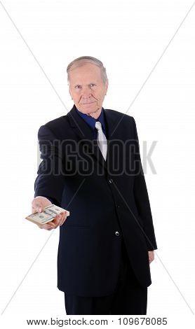 Businessman Holding Money. Banking loan, cash concept