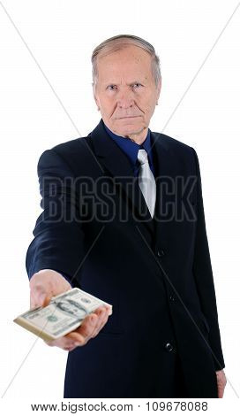 businessman, giving a pile of US dollars isolated on white background