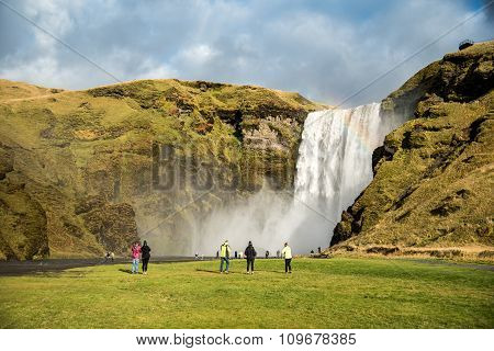 Skogafoss, Beautiful Waterfall In Iceland