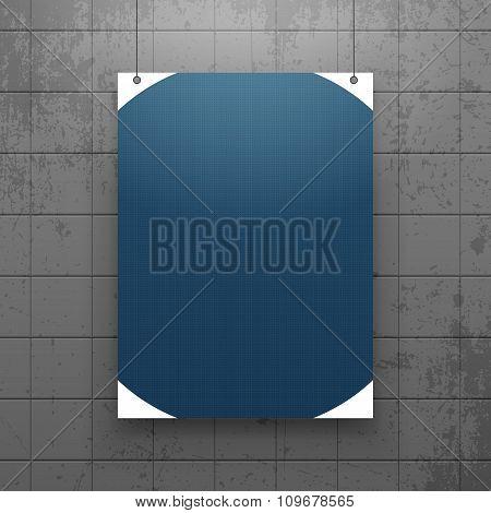 Realistic hanging Paper Sheet Mockup