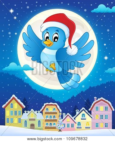 Christmas bird above town - eps10 vector illustration.