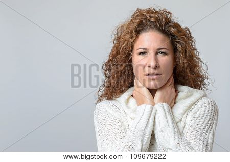 Woman With A Pained Serious Expression