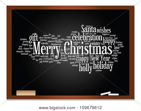 Vector concept conceptual Merry Christmas holiday or Happy New Year winter abstract text word cloud on blackboard background