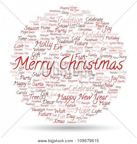 Vector concept or conceptual Merry Christmas holiday or Happy New Year winter abstract text word cloud on white background