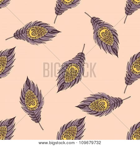 Seamless ethnic pattern with feathers.