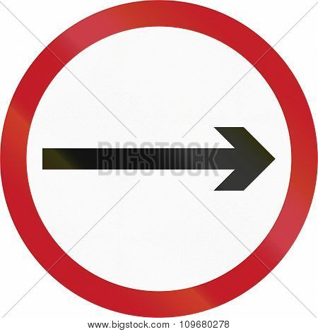 Old Version Of Road Sign In The Philippines - Direction To Be Followed - Proceed Right Only