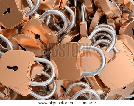 Close-up Of Locked Brass Padlocks