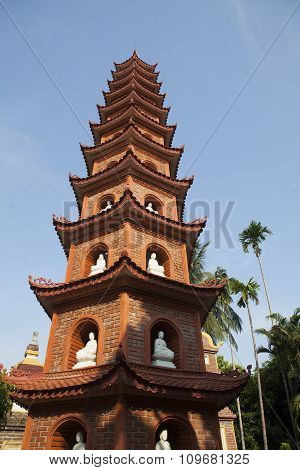Close up of the main tower at Tran Quoc pagoda in Hanoi capital, Vietnam