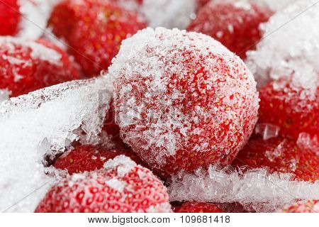Strawberries, Frozen For Long Term Fruits Storage.
