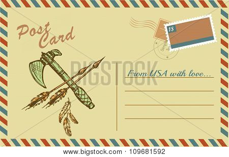 Vintage postcard with native American Indian tomahawks
