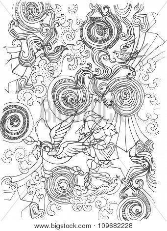 Vector Floral and Birds ornament pencil drawing background