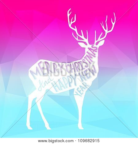Square New Year design with a deer on the gradient background