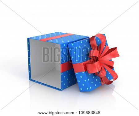 Blue Open Gift Box With Red Ribbon And Bow.