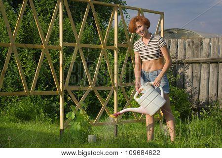 Happy Female Farmer Gardener Watering The Plants