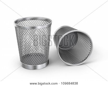 Empty Recycle Bin Isolated On White Background