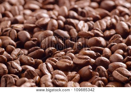 Heap Of Roasted Coffee Beans From Low Angle Soft Focused