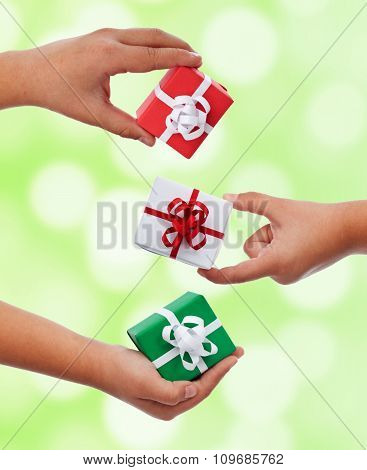 Set Of Small Presents In Child Hands