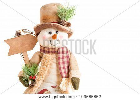 Snowman Holding Blank Arrow Sign