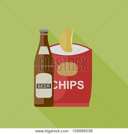 Beer and chips icons.