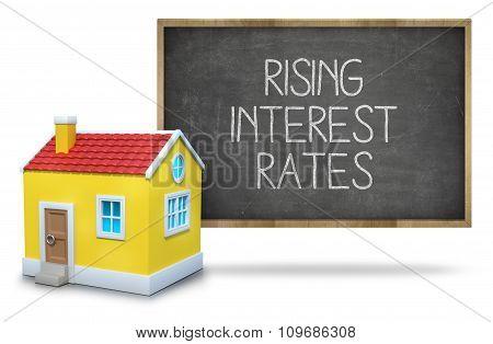 Rising interest rates on blackboard
