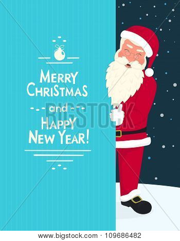Smiling Santa Claus wearing red hat and glasses holds a banner with merry chrismas